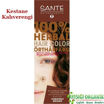 SANTE Organik Bitkisel Toz Saç Boyası (Kestane Kahverengi) 100gr